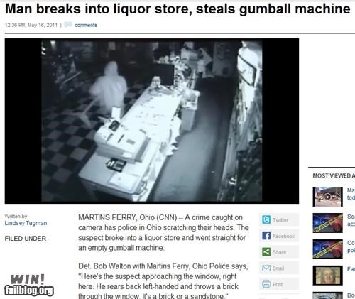 candy,completely relevant news,gumballs,liquor store,robbery,theft