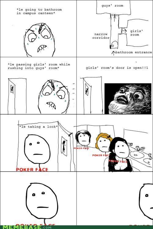 bathroom girls poker face Rage Comics - 4768024320
