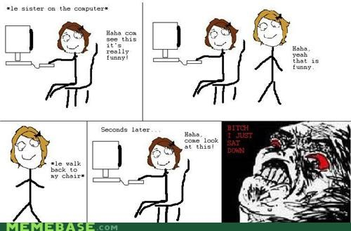 chair,computer,Rage Comics,sat down,sister