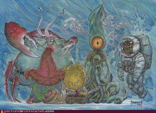 art painting sponge bob wtf - 4768186880
