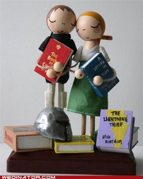 books,cake toppers,funny wedding photos