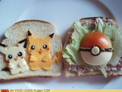 bread cheese lettuce lunch pikachu pokeball Pokémon sandwich tomato - 4769352960