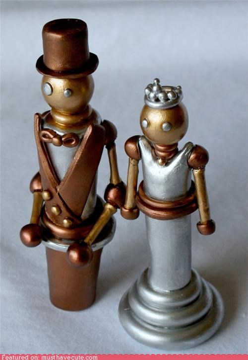 bride groom cake toppers metallic robots Steampunk wedding - 4769899264