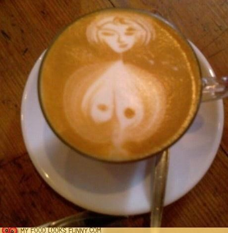 art coffee drawing foam latte milk woman