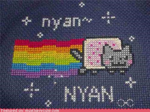 cat cross stitch nyan Nyan Cat pop tart rainbow
