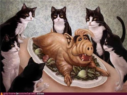 Alf art Cats creepy food wtf - 4770328320