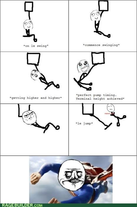 heigh jump off building Rage Comics success superman swing - 4770404096