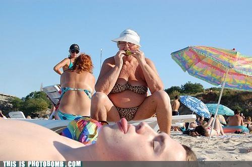 Awkward bikini leopard print old lady - 4770536704