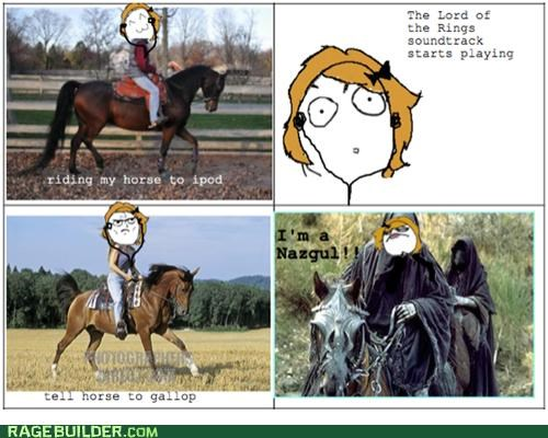 horses,Lord of the Rings,Nazgul,playing,Rage Comics,soundtrack