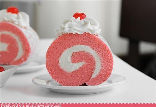 cake cherry cream dessert epicute pink roll sweets swiss roll whipped cream - 4771210752