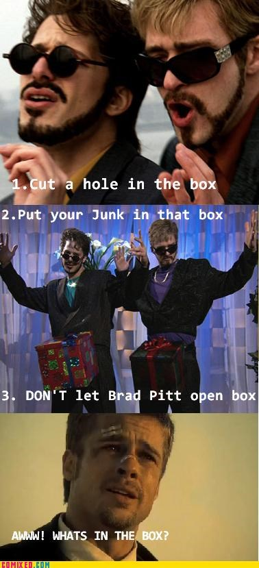 brad pitt,From the Movies,in a box,seven,steps