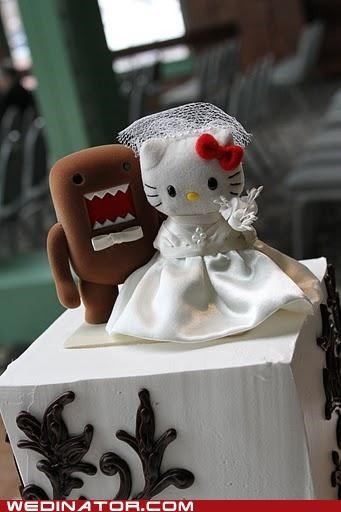cake toppers,domo,funny wedding photos,hello kitty