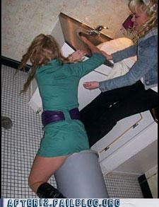 drunk,falling,trash can