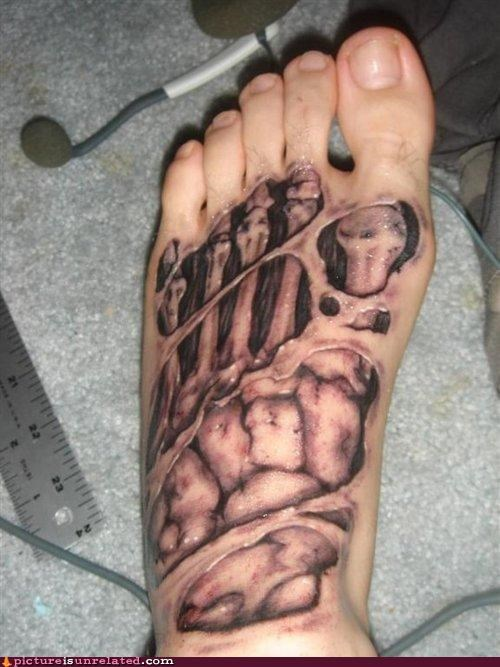creepy eww foot tattoo wtf - 4771808512