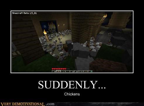 chickens,hilarious,minecraft,video games,wtf