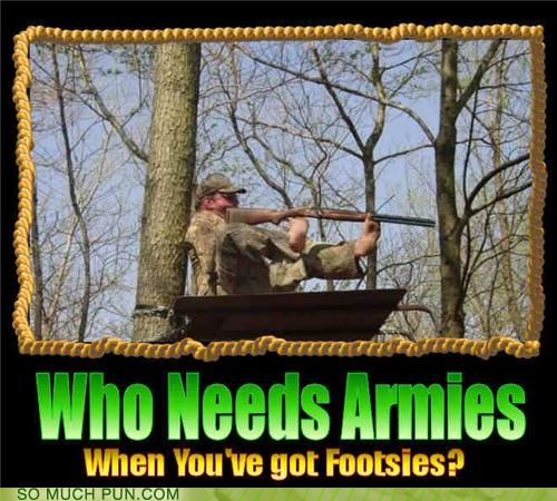 armies,army,double meaning,feet,footsies,gun,literalism,lolwut,shooting,shoulder,soldier