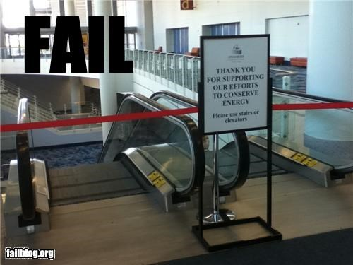 escalator,failboat,g rated,green,lazy,signs,stairs,stupidity