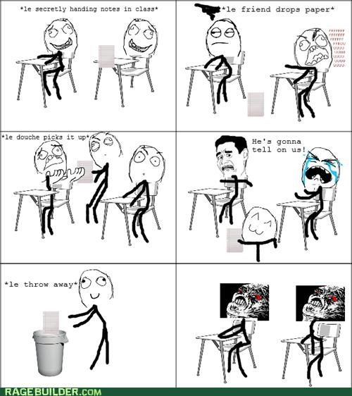 dropped passing notes Rage Comics rude - 4773936640