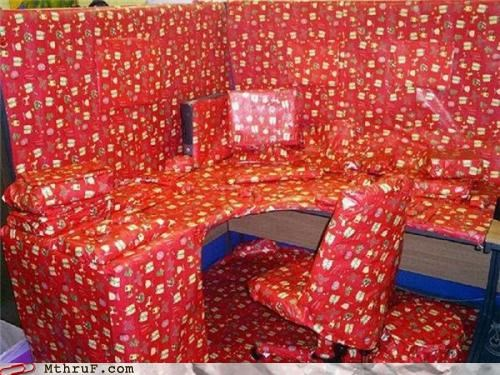 christmas or some similar holiday,office prank,wrapping paper