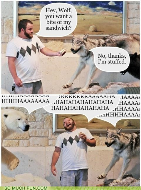 bear,double meaning,laughter,literalism,lolwut,offer,overzealous,sandwich,stuffed,stupid,taxidermy,wolf