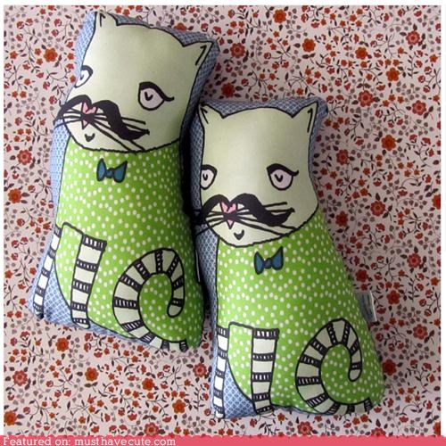 bowtie,cat,kitty,mustache,Pillow,print