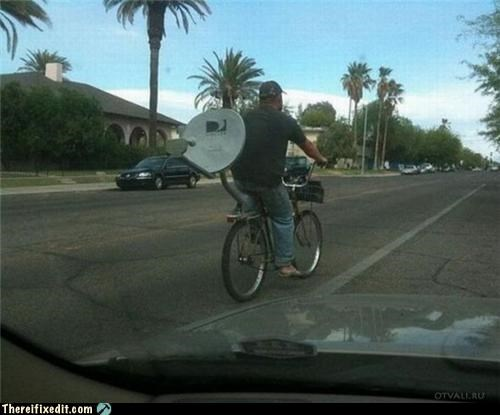 bicycle,bike,satellite dish,weird,wtf