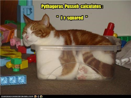 "Pythagoras Pusseh calculates : "" i r squared """
