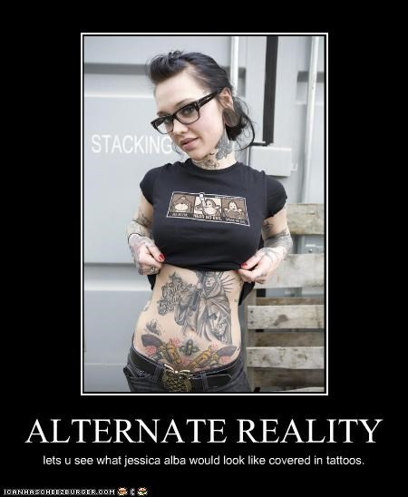 ALTERNATE REALITY lets u see what jessica alba would look like covered in tattoos.