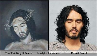 comedians,jesus,painting,Russell Brand
