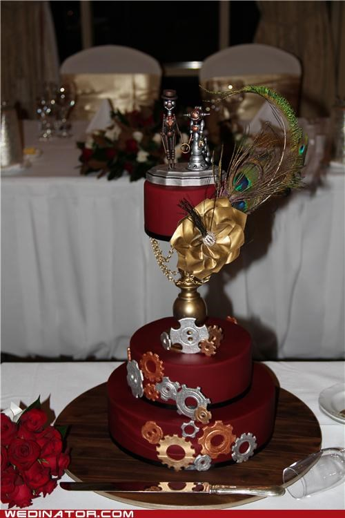 funny wedding photos,Steampunk,wedding cake