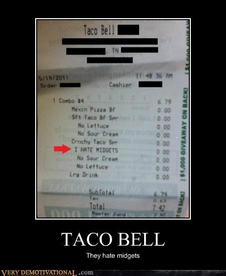 hilarious midgets receipt taco bell wtf - 4777138688