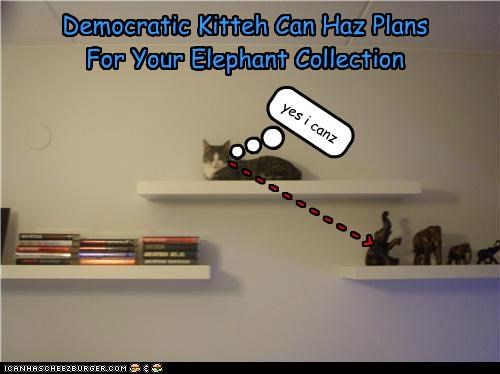 - - - - - - - - - - > Democratic Kitteh Can Haz Plans For Your Elephant Collection yes i canz