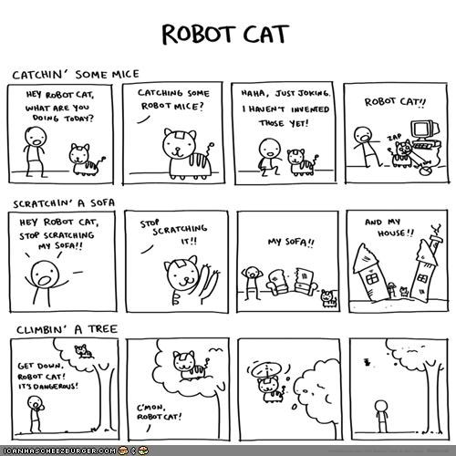 comic comics robot cat robots silly - 4777193984