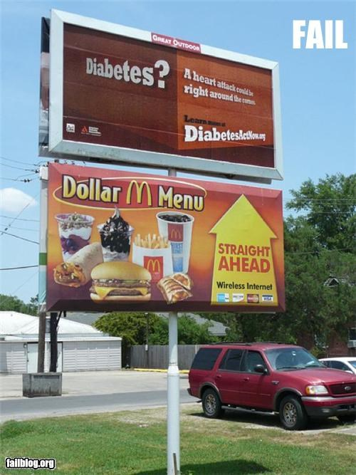 Ad advertisement billboard diabetes failboat fast food g rated juxtaposition McDonald's - 4777314560