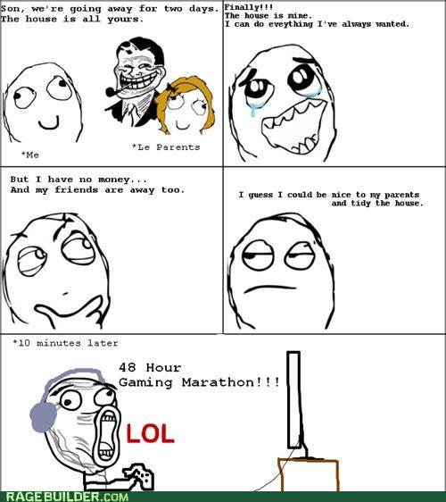gaming home house marathon parents Rage Comics - 4777420288