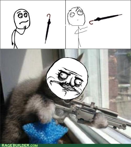 Cats,gun,headshot,Rage Comics,umbrella