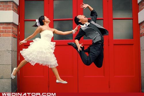 funny wedding photos jumping bride and groom - 4777579776