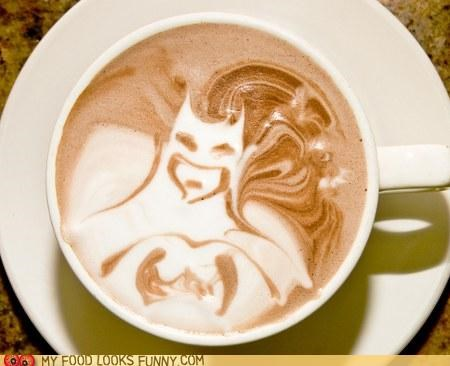 art batman coffee foam latte milk