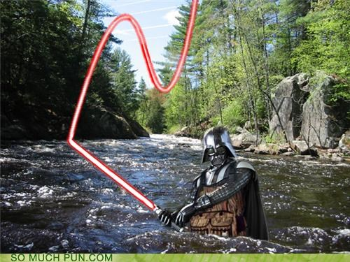 darth,darth vader,fishing,fishing rod,fly fishing,lightsaber,lord,similar sounding,sith,wader,wading