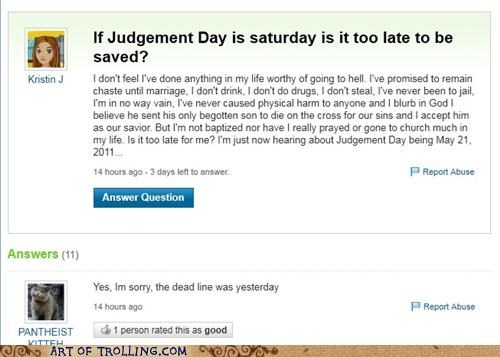 jesus,RAPTURE,saved,Yahoo Answer Fails