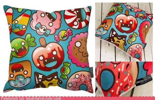 evil fabric fangs Pillow print snacks sweets vampires - 4779679744