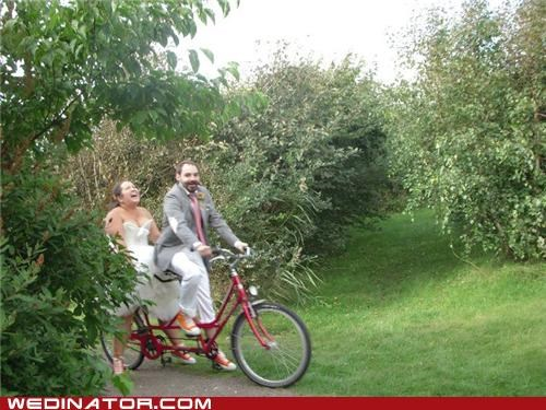 bike,bikers,bride,funny wedding photos,groom