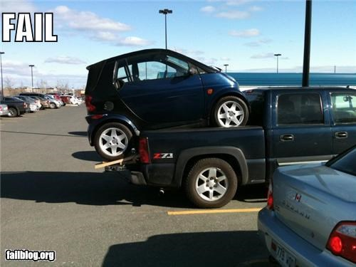 cars,dangerous,failboat,g rated,parking,smart car,stupidity,towing,truck