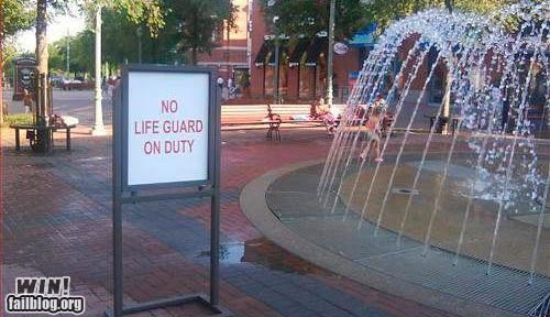 lifeguar,on duty,signs,summer time,warning,waterfoutain