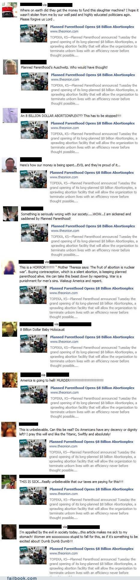 facepalm,Featured Fail,idiots,Planned Parenthood,really,the onion