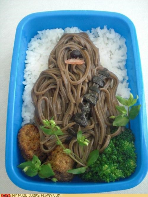 bento chewbacca noodles nuggets veggies - 4781136384