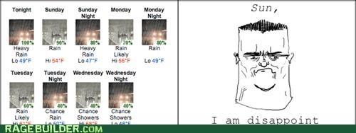 disappoint,puns,Rage Comics,rain,son,sun