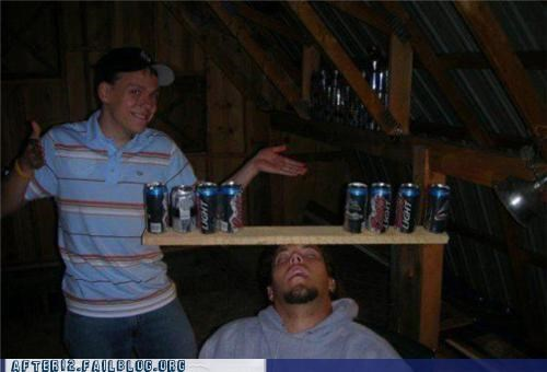 balance,beer cans,passed out