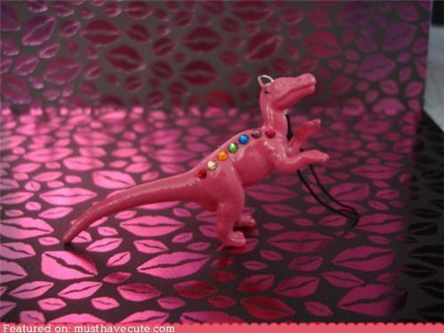 Bling dinosaur pink plastic rainbow rhinestones sparkly - 4781295616