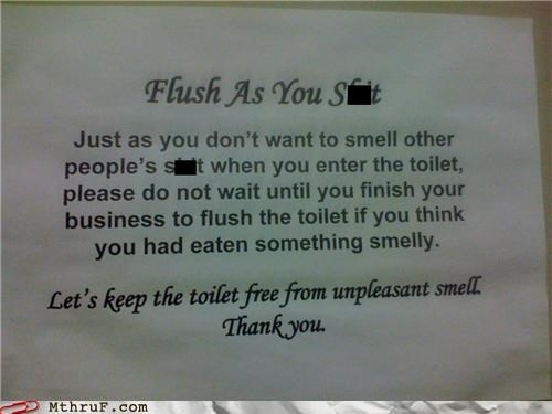 bathroom,flush,sign